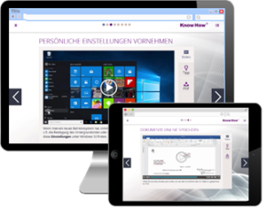 Bildschirm und Tablet mit WBTs für Microsoft